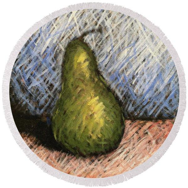 Pear Study 1 Round Beach Towel