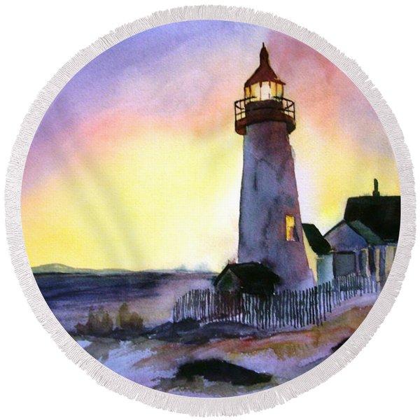 Pemaquid Point Lighthouse Maine Round Beach Towel