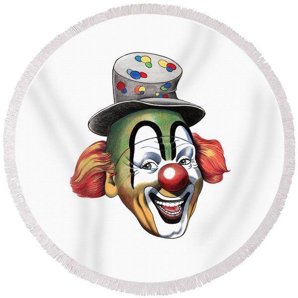 Pencil Clown Round Beach Towel