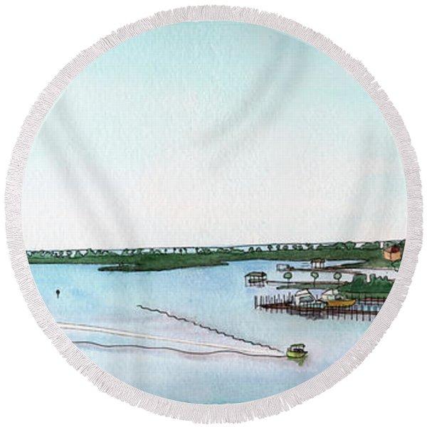 Perdido Key Bay Round Beach Towel