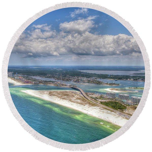 Perdido Pass Aerial 3029 Round Beach Towel