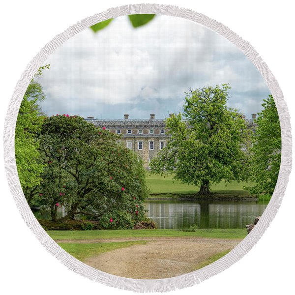 Round Beach Towel featuring the photograph Petworth House On Lake by Michael Hope