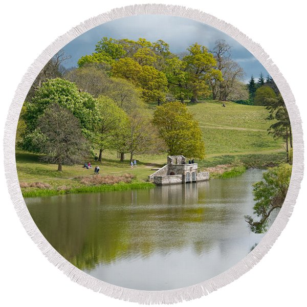 Round Beach Towel featuring the photograph Petworth Lake In April by Michael Hope
