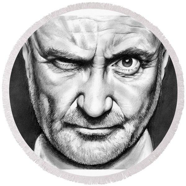 Phil Collins Round Beach Towel