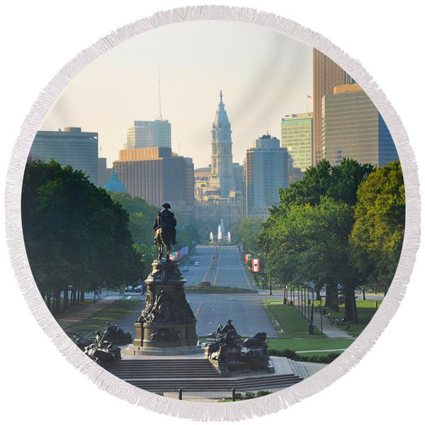 Round Beach Towel featuring the photograph Philadelphia Benjamin Franklin Parkway by Bill Cannon