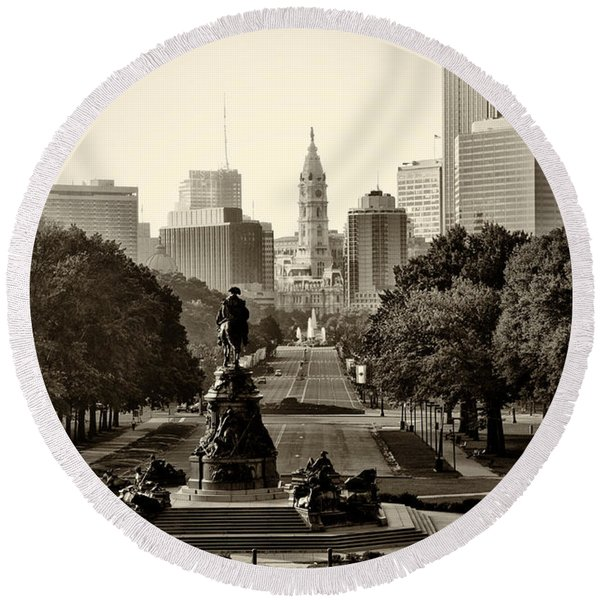 Round Beach Towel featuring the photograph Philadelphia Benjamin Franklin Parkway In Sepia by Bill Cannon