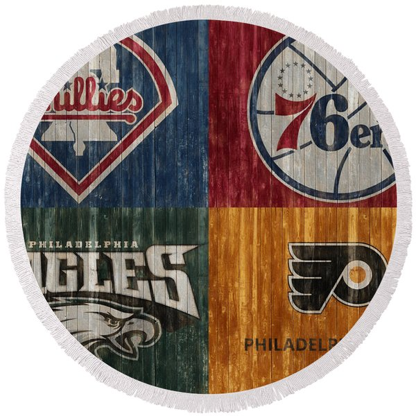 Philadelphia Sports Teams Round Beach Towel