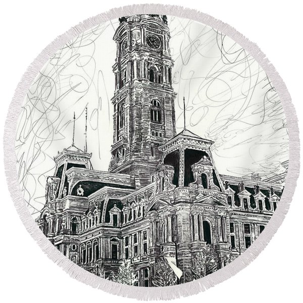 Philly City Hall Round Beach Towel