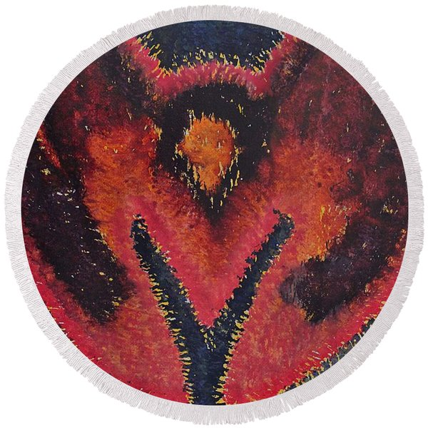 Phoenix Rising Original Painting Round Beach Towel