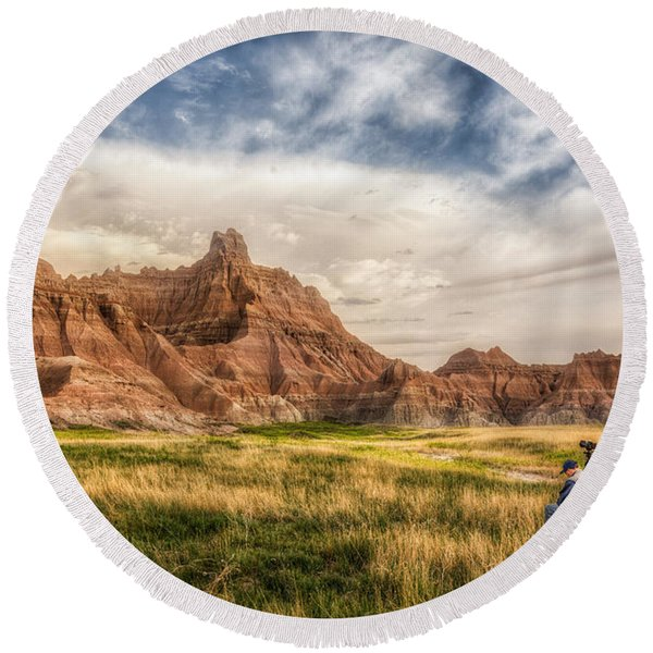 Photographer Waiting For The Badlands Light Round Beach Towel