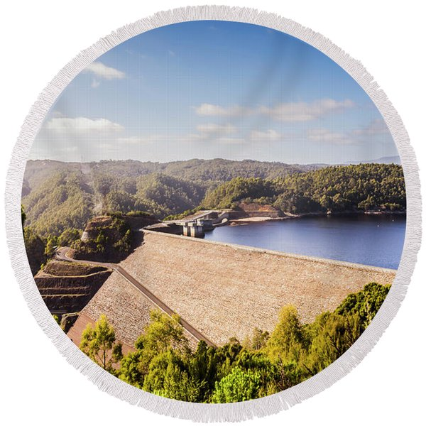 Picturesque Hydroelectric Dam Round Beach Towel