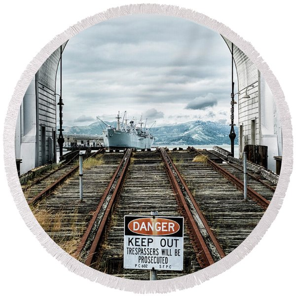 Round Beach Towel featuring the photograph Pier 43 Ferry Arch San Francisco California by Mary Lee Dereske