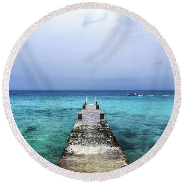 Pier On Caribbean Sea With Boat Round Beach Towel