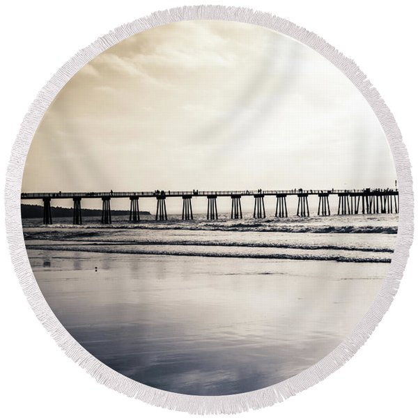 Round Beach Towel featuring the photograph Pier On Duotone by Michael Hope
