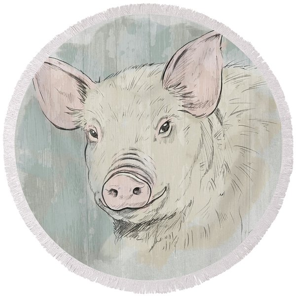 Pig Portrait-farm Animals Round Beach Towel