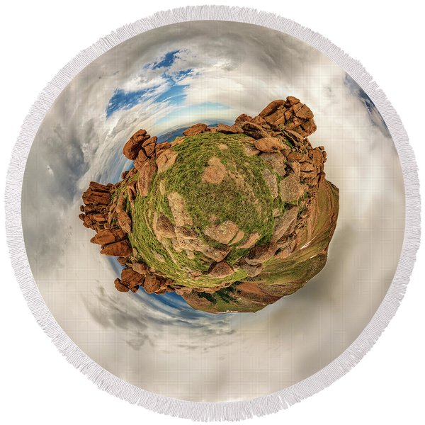 Pikes Peak Tiny Planet #2 Round Beach Towel