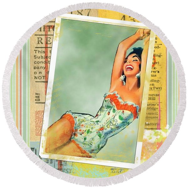 Pin Up Girl Square Round Beach Towel