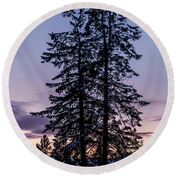 Pine Tree Silhouette    Round Beach Towel