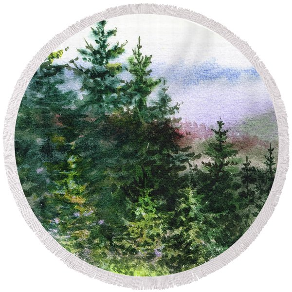 Pine Trees And Meadow  Round Beach Towel