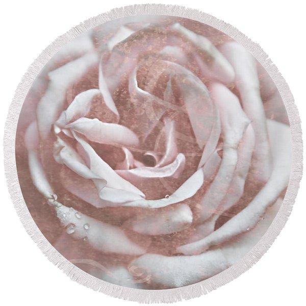 Pink Garden Rose Round Beach Towel