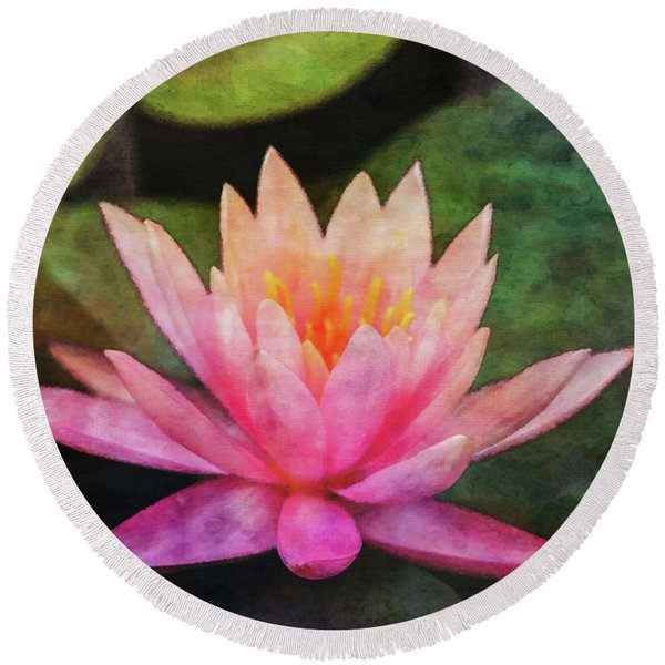 Pink Lotus 4134 Idp_2 Round Beach Towel