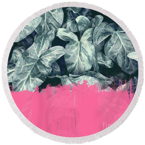 Pink Sorbet On Jungle Round Beach Towel