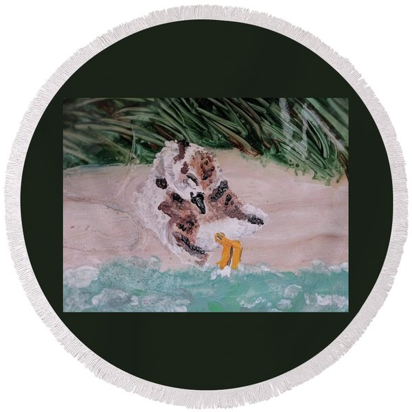 Piping Plover Chick 2 Round Beach Towel