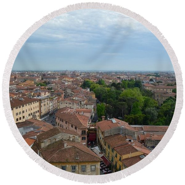 Pisa From Above Round Beach Towel