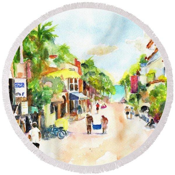 Playa Del Carmen Mexico Shops Round Beach Towel
