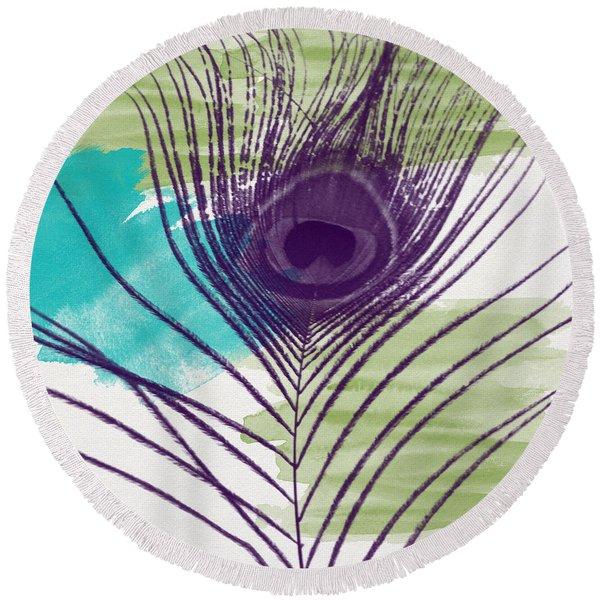 Plumage 2-art By Linda Woods Round Beach Towel