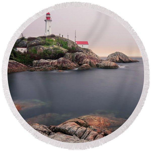 Point Atkinson Lighthouse Round Beach Towel