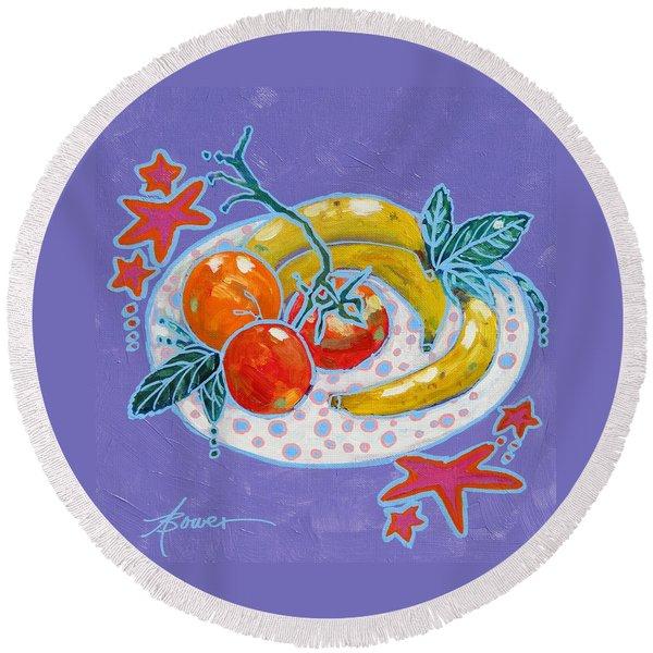 Polka-dot Plate  Round Beach Towel