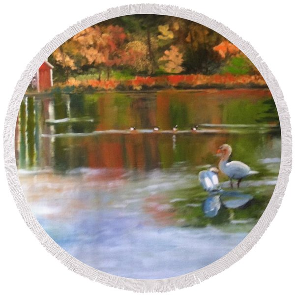 Pond Reflections Round Beach Towel