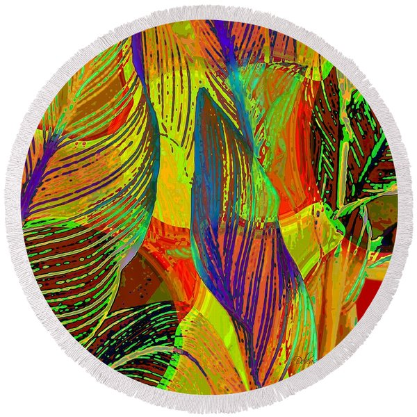 Pop Art Cannas Round Beach Towel