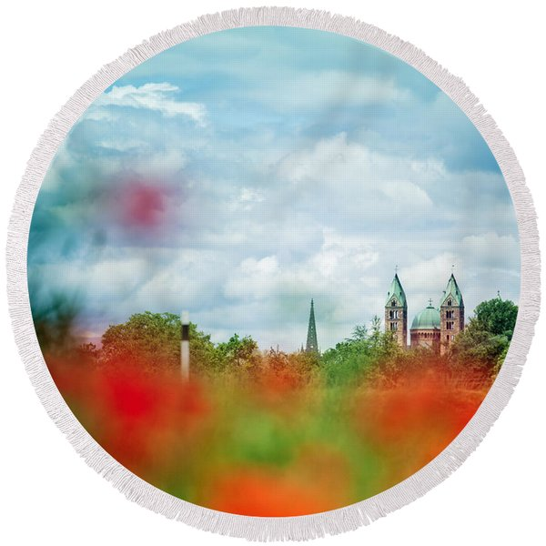 Poppy Field And Speyer Cathedral Round Beach Towel