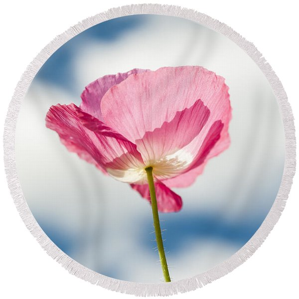 Poppy In The Clouds Round Beach Towel