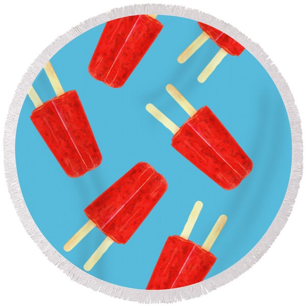 Popsicle T-shirt Round Beach Towel