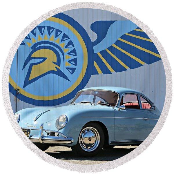 Porsche 356a True Blue Round Beach Towel