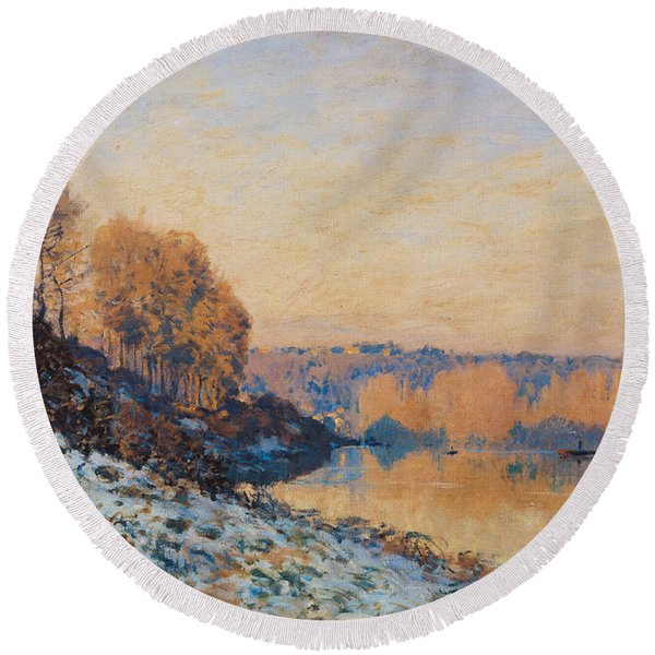 Port Marly White Frost Round Beach Towel