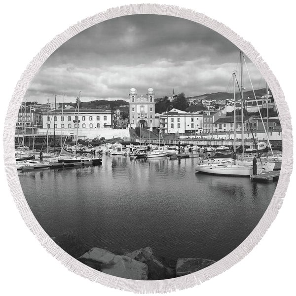 Port Of Angra Do Heroismo, Terceira Island, The Azores In Black And White Round Beach Towel