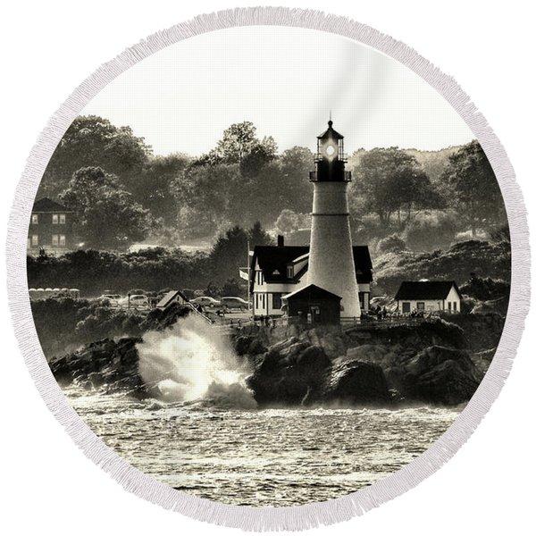 Portland Head Light At Cape Elizabeth In Black And White Round Beach Towel