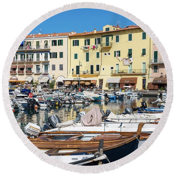 Portoferraio Harbor Round Beach Towel