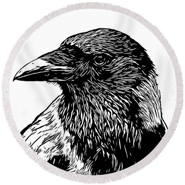 Portrait Of A Crow With Head Turned Looking In Black And White I Round Beach Towel