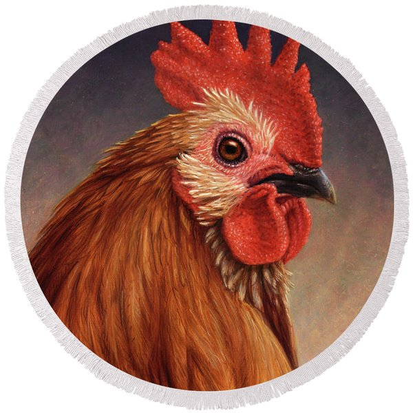 Portrait Of A Rooster Round Beach Towel