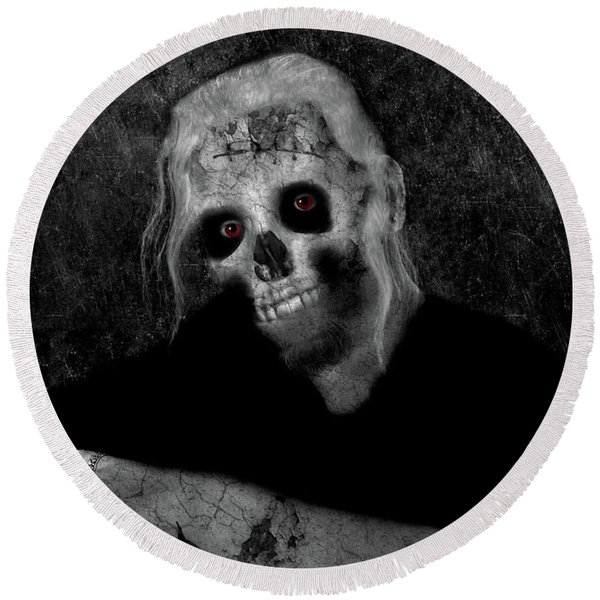Portrait Of A Zombie Round Beach Towel