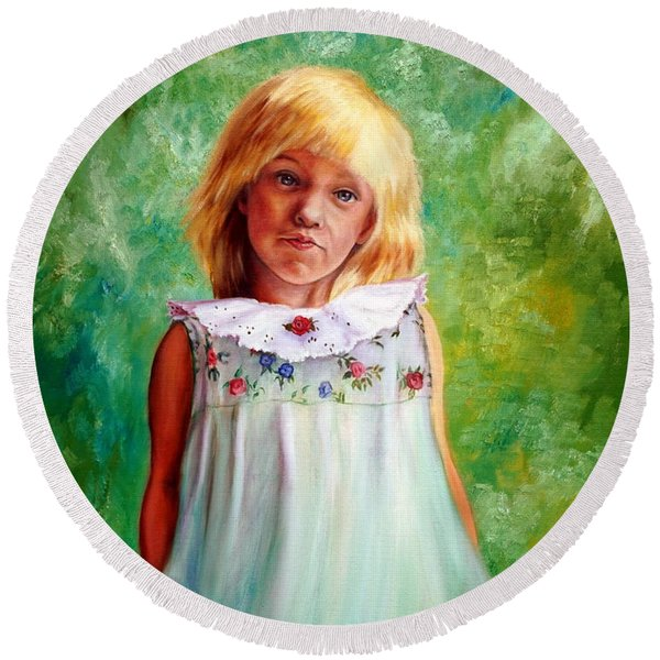 Portrait Of Sara Round Beach Towel