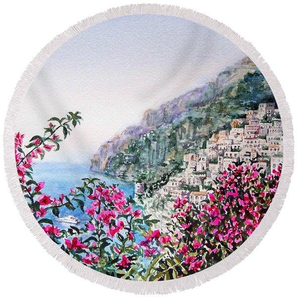 Positano Italy Round Beach Towel