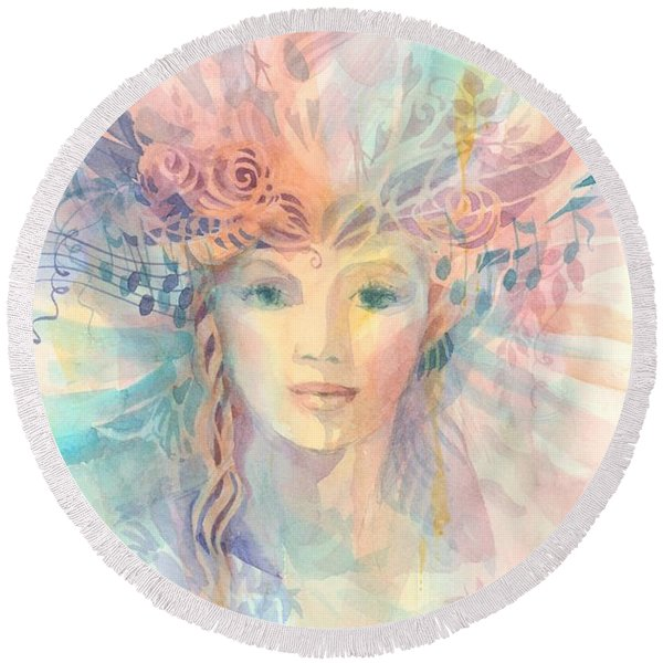 Round Beach Towel featuring the painting Priestess by Carolyn Utigard Thomas