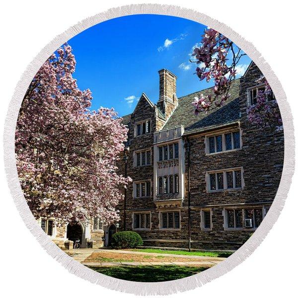 Princeton University Pyne Hall Courtyard Round Beach Towel