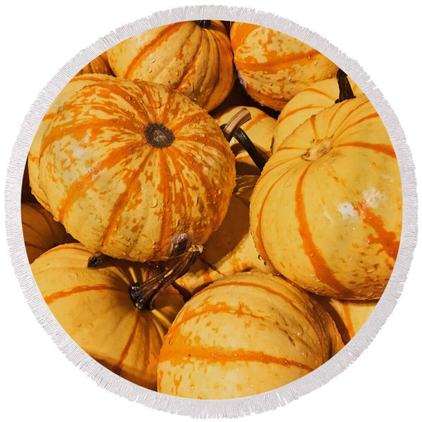 Pumpkin Harvest Round Beach Towel